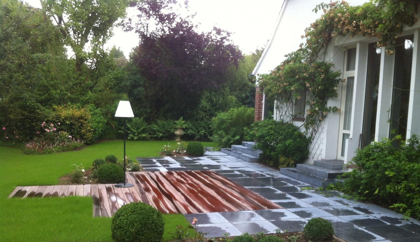 am nagement d 39 une terrasse en bois et pierre wasquehal 59 nord architecte paysagiste. Black Bedroom Furniture Sets. Home Design Ideas