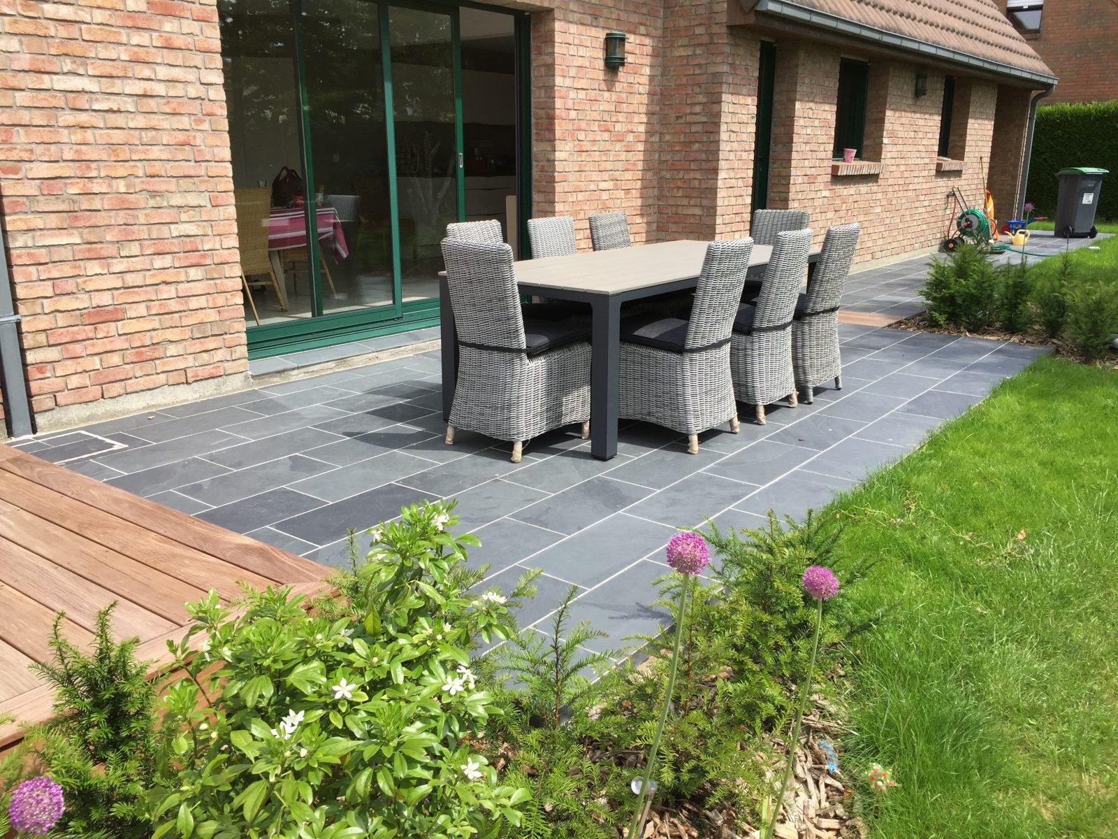 terrasse ardoise et bois lille nord 59 paysagiste. Black Bedroom Furniture Sets. Home Design Ideas