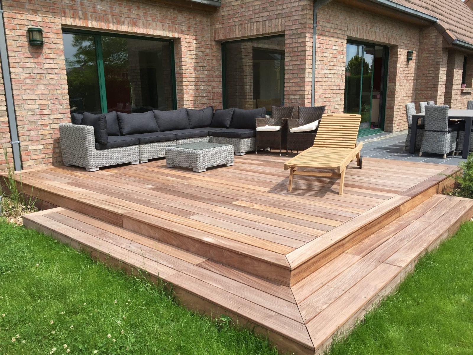 Terrasse ardoise et bois lille nord 59 paysagiste for Jardin avec terrasse