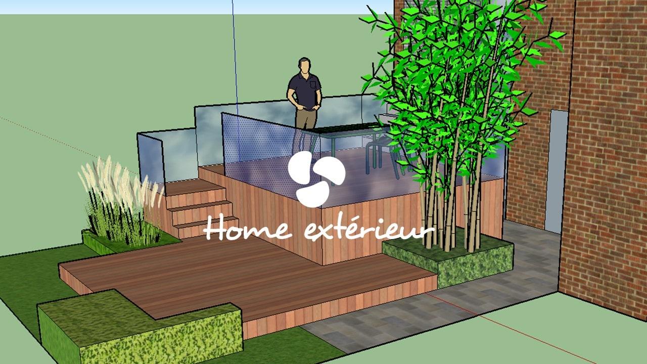 Projet en 3d d 39 une terrasse lille lambersart paysagiste for Projet terrasse en 3d