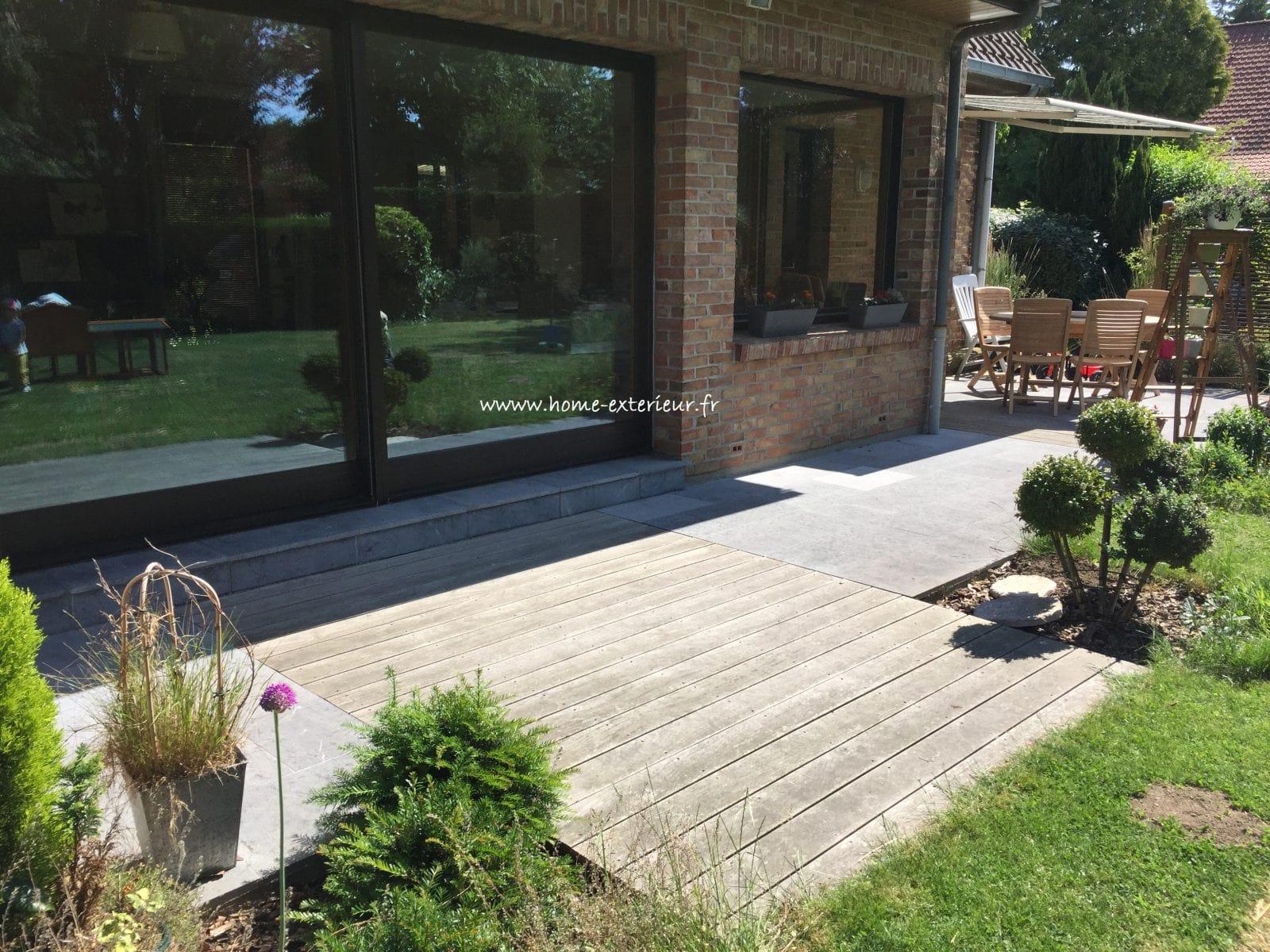 terrasse pierre bleue et bois exotique verlinghem lille 59 nord architecte paysagiste. Black Bedroom Furniture Sets. Home Design Ideas